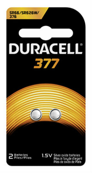 Duracell® 67848 Silver Oxide Watch Battery #377, 1.5-Volt, 2-Pack