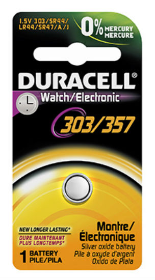 Duracell® 13009 Silver Oxide Watch Battery, 1.5-Volt, #303/357