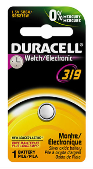 Duracell® 10809 Silver Oxide Watch Battery, 1.5 Volt, #319