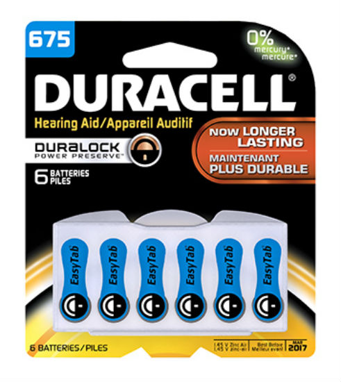 Duracell® 00433 Hearing Aid Battery with EasyTab, #675, 6-Pack