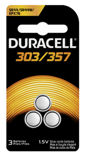 Duracell® 67448 Silver Oxide Watch Battery #303/357, 1.5 Volt, 3-Pack