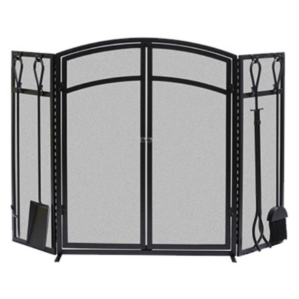 Panacea™ 15138 Arch Fireplace Screen with Doors & Tools, 3-Panel, Black