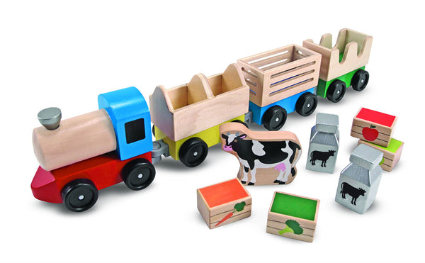 Melissa & Doug® 4545 Wooden Farm Train with Engine & Cars Toy Set, Age 3+