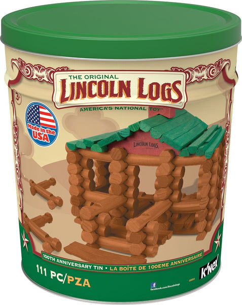 Knex 00854 Lincoln Logs 100th Anniversary Tin, Ages 3+, 111-Pieces