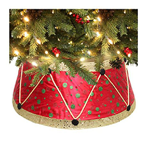 "Dyno Seasonal 2264927-1 Drum Design Satin Christmas Tree Collar, 11"" x 26"" Dia"