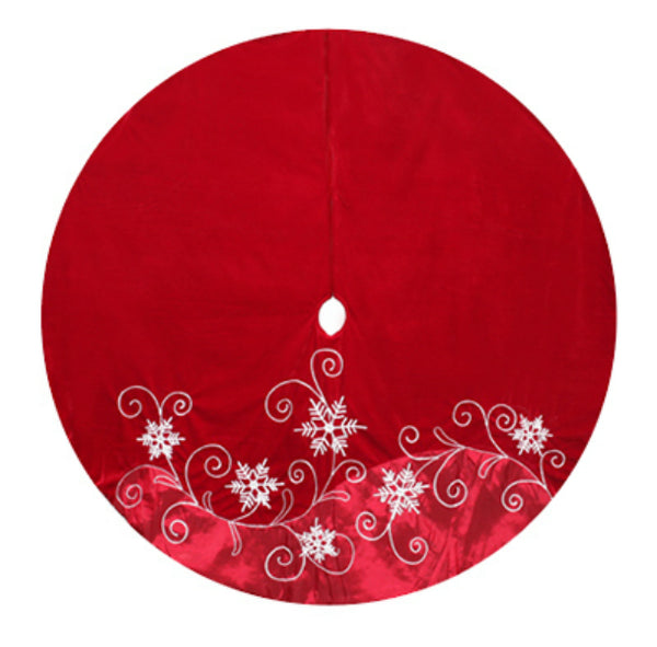 Dyno 2564793-4CC Red Velvet & Satin Xmas Tree Skirt w/Snowflakes & Swirls, 56""