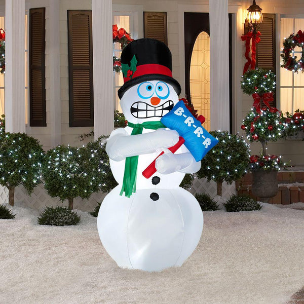 Gemmy 86235 AirBlown® Christmas Lights-Up Animated Shivering Snowman w/Sign, 6'
