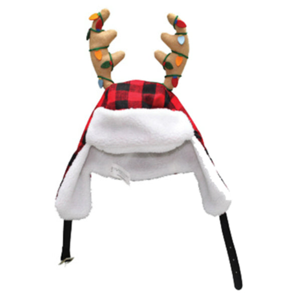 Dyno 0408937-1CC Plush Red/Black Plaid Santa Hat with Ear Flaps & Antlers, 17""