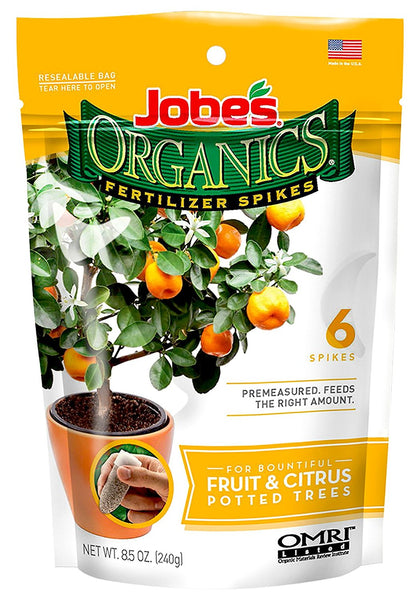 Jobe's® Organics® 04226 Fruit & Citrus Tree Fertilizer Spikes, 3-5-5, 6-Pack