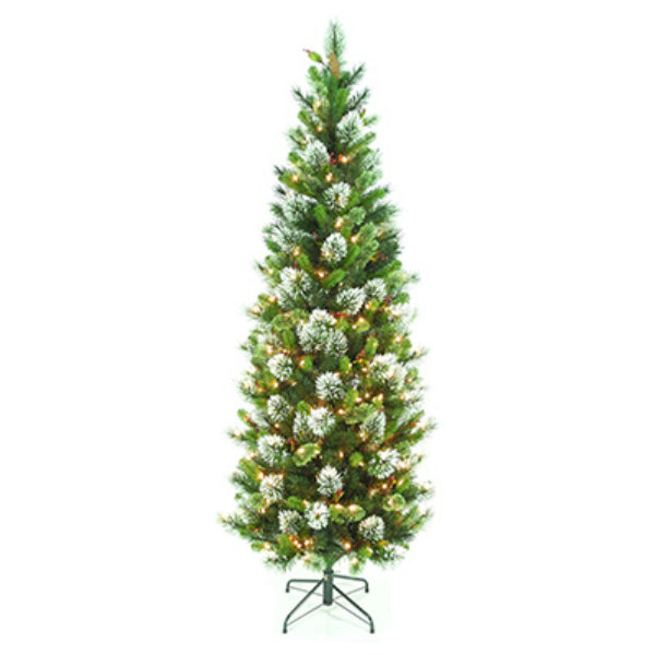 National TWP3-304 Wintry Pine Slim Artificial Hinged Tree 7', 300 Clear Lights