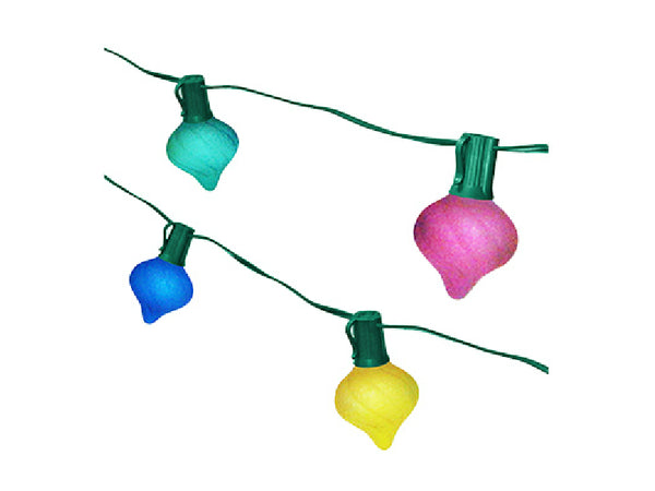 Sylvania V20357-88 Onion-Shaped Satin Glass Christmas 10-Light Set, Multi