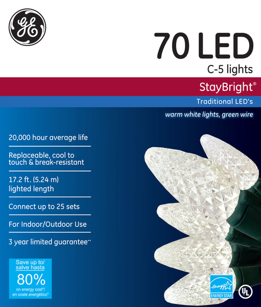 GE GE90226 StayBright® Christmas C5 LED 70-Light Set w/Green Wire, Warm White