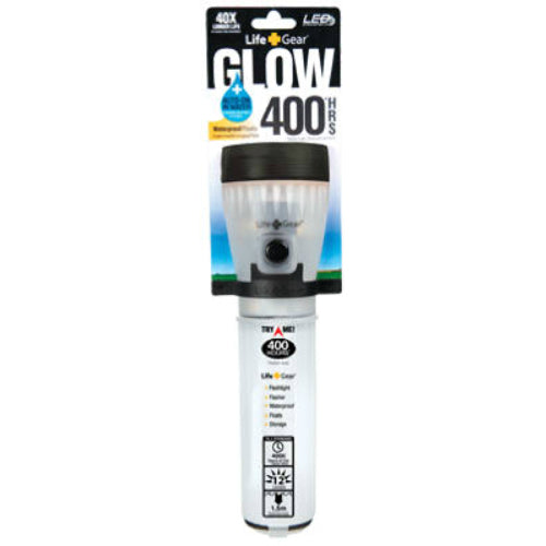 Life Gear LG141 Glow LED Flashlight, Waterproof, Translucent Clear Body