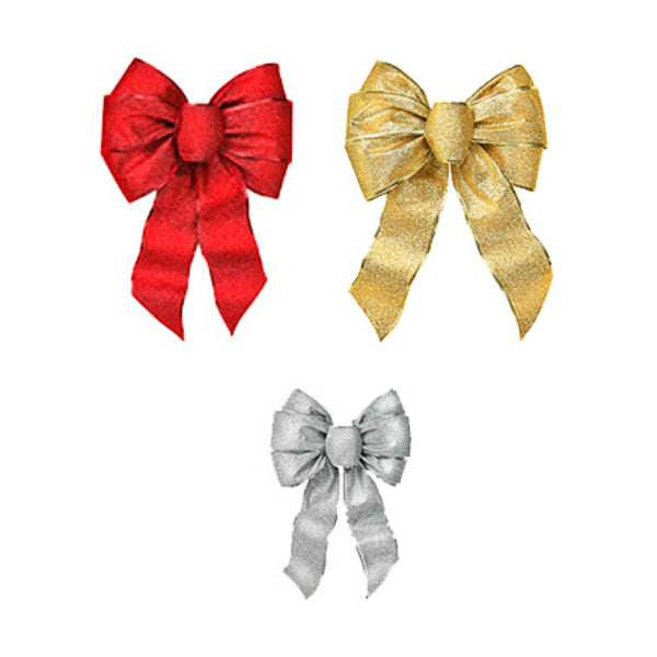 Holiday Trim 6166 Shimmering Christmas Glitters Wired Bow, Assorted Colors