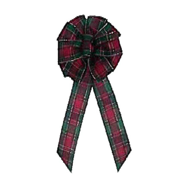 "Holiday Trim 6229 Scotch Plaid Wired Bow, 11 Loop, 9"" x 16"""