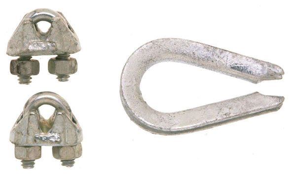 Campbell® B7675109 Wire Rope Clips & Thimble, Galvanized, 1/8""