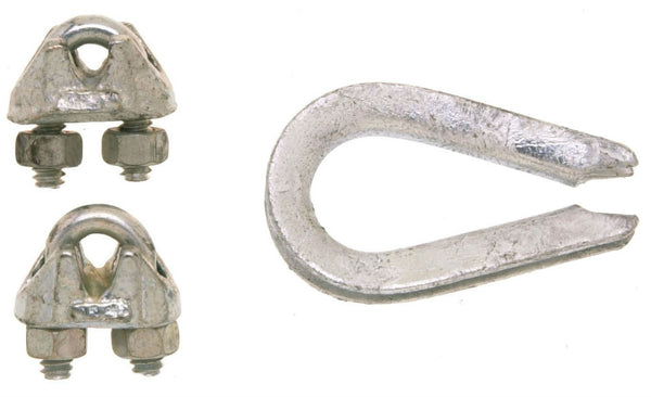 Campbell® B7675129 Wire Rope Clips & Thimble, Galvanized, 1/14""