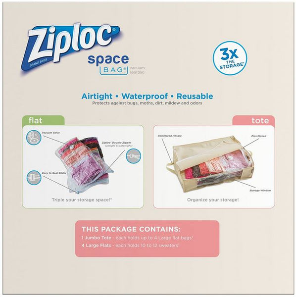 Ziploc® 70311 Space Bag® Vacuum Seal Bags & Jumbo Tote Pack, 5-Count