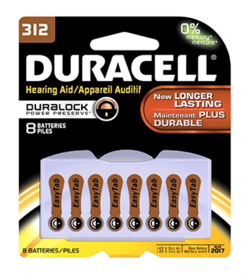 Duracell® 00279 Hearing Aid Zinc Air Battery with EasyTab, #312, 8-Pack