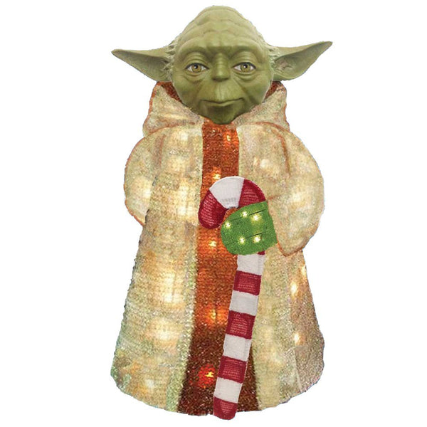 Kurt Adler ZTSW9TV9143 Star Wars 3D Yoda w/ Santa Suit/Candy Cane, 50 Light, 28""