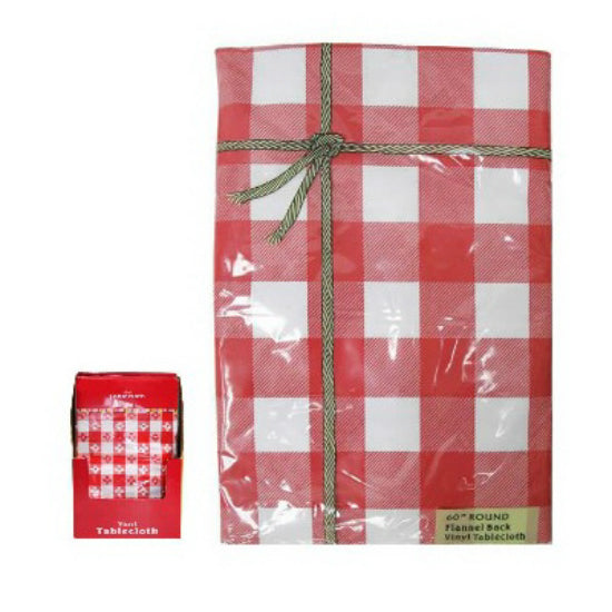 "J & M Home Fashions 80284 Flannel Back Vinyl Tablecloth, 52"" x 90"", Red Check"