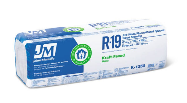 Johns manville 90005453 kraft faced r 19 fiberglass for Insulation batt sizes