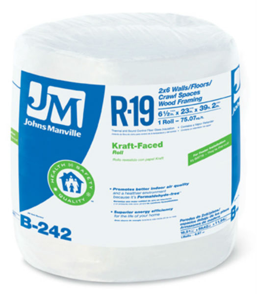 Johns manville 90003720 kraft faced r 19 fiberglass for Fiberglass insulation sizes