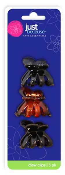 Just Because™ 9312 Hair Claw Clips, 3-Pack
