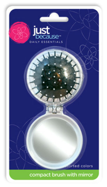 Just Because™ 9309 Compact Round Mirror with Brush, Assorted Colors