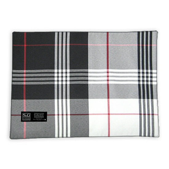 "Myles TCY62089PM Oblong City Plaid Placemat, 18"" x 13"", Gray"