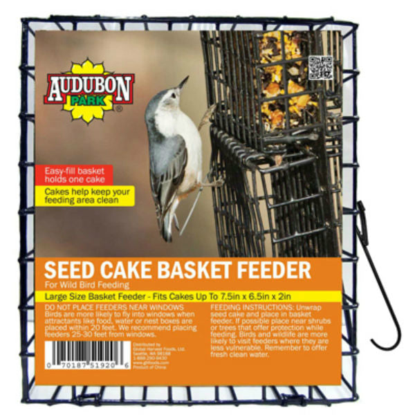 Audubon Park® 11236 Seed Cake Basket Feeder Cage for Wild Bird Feeding, Metal