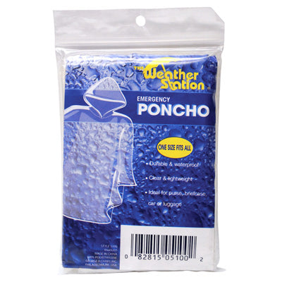 "WeatherStation® 5100 Plastic Emergency Rain Poncho with Hood, Clear, 38"" x 48"""