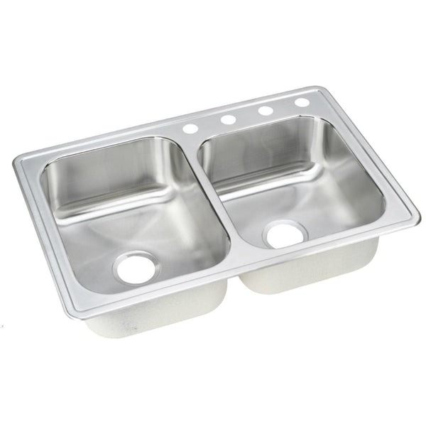 Elkay® NLB2504 Neptune Stainless Steel Double Bowl Top Mount Kitchen Sink, Satin
