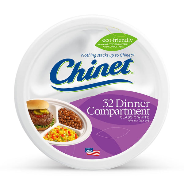 "Chinet® 32227 Classic White™ Compartment Dinner Plate, 10-3/8"", 32-Count"