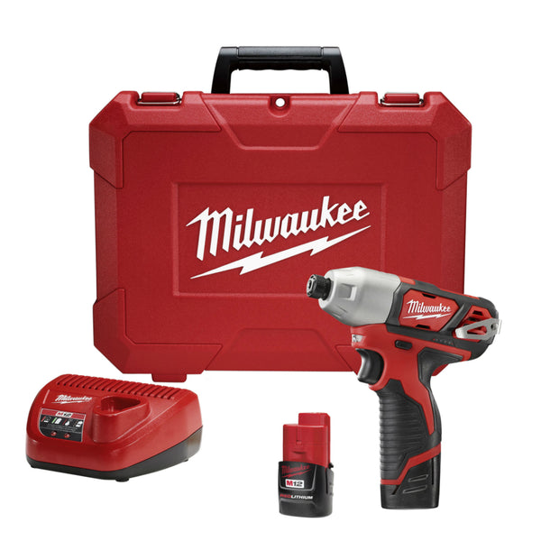 Milwaukee® 2462-22 Cordless M12™ Lithium-Ion Hex Impact Driver Kit, 12V, 1/4""