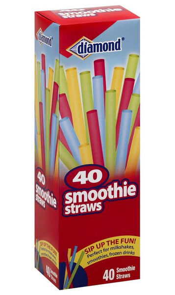 Diamond® 41426-43042 Smoothie Straws, Assorted Colors, 40-Count