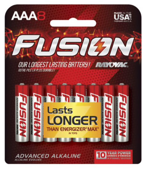 "Rayovac 824-8CTFUS Fusion Advanced ""AAA"" Alkaline Battery, 8-Pack"