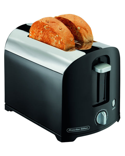 Proctor Silex® 22622 2-Slice Toaster, Black/Chrome Finish