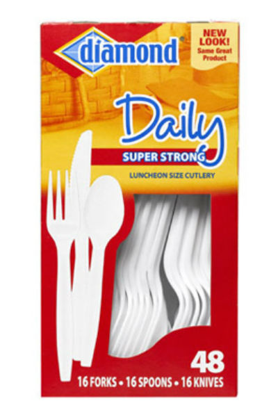 Diamond® 41426-00116 Daily™ Super Strong Luncheon Size Cutlery Combo, 48-Count