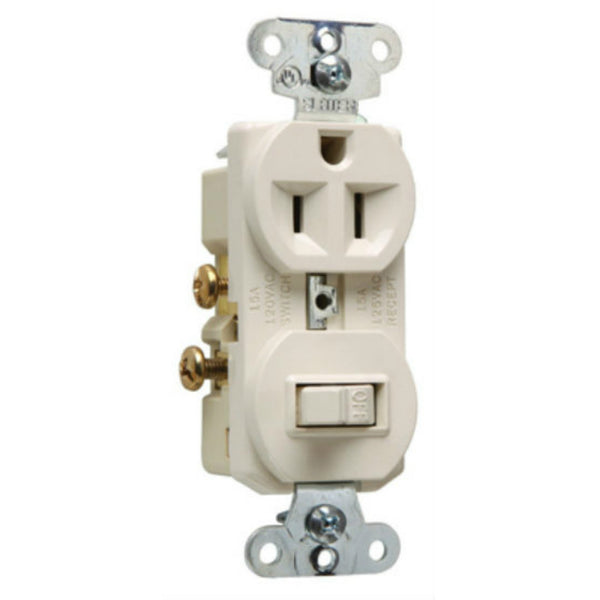 Pass & Seymour® 691LACC6 Single-Pole Switch & Single Receptacle, Light Almond