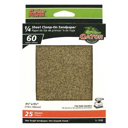 "Gator® 5133 1/4 Sheet Clamp-On Sandpaper, 60-Grit, 4.5"" x 5.5"", 25-Pack"