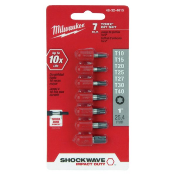 "Milwaukee® 48-32-4615 Shockwave™ Impact Duty™ Torx® Insert Bit Kit, 1"", 7-Piece"