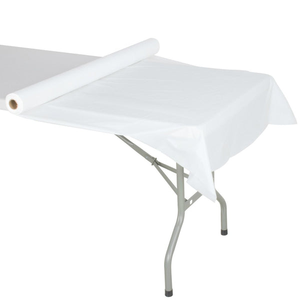 "Creative Converting™ 783272 Plastic Table Cover Roll, White, 40"" x 250'"