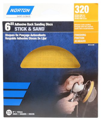 "Norton 50134-038 Stick & Sand Adhesive Back Sanding Disc, 320-Grit, 6"", 15-Pack"