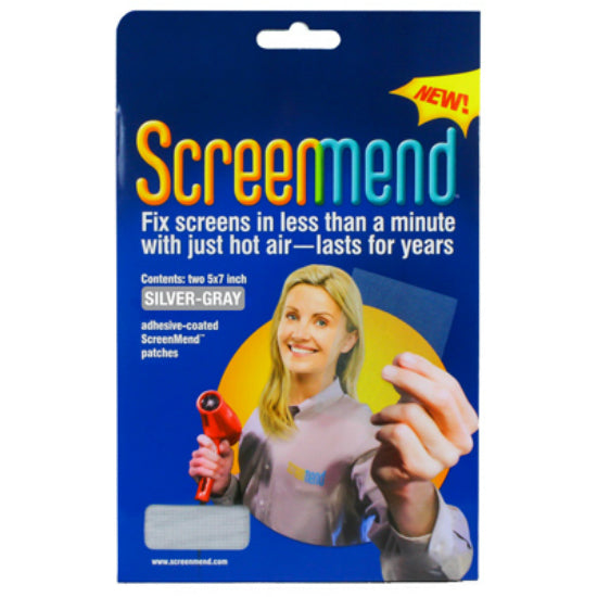 "ScreenMend 04549 Adhesive-Coated Screen Repair Patch, Silver, 5"" x 7"", 2-Pack"