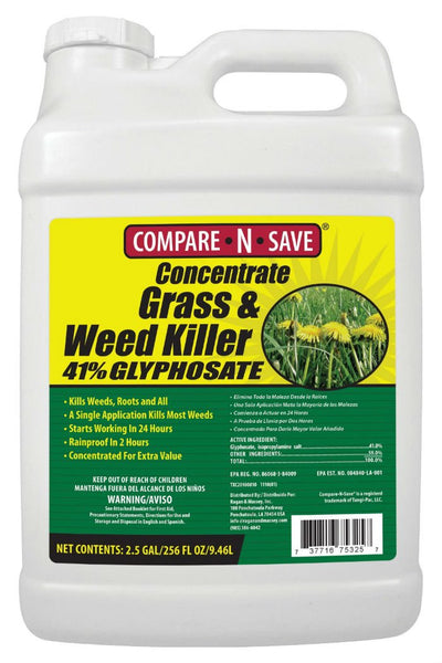 Compare-N-Save® 75325 Concentrate Grass & Weed Killer, 41% Glyphosate, 2.5 Gal