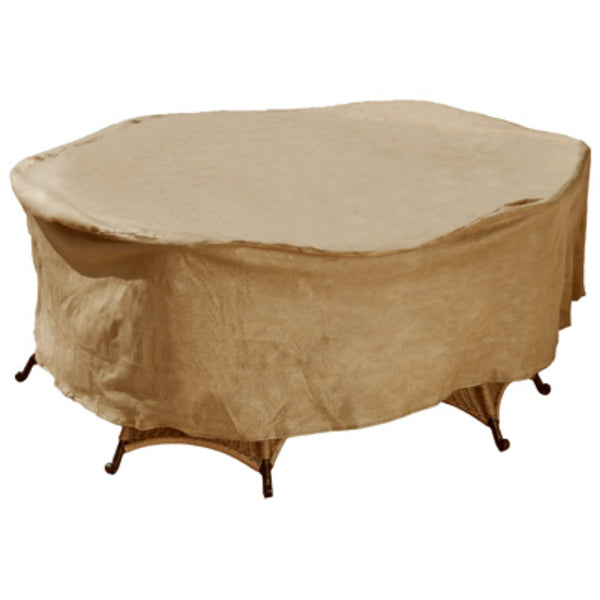 "Budge P5A13SFRC-N Oval Rec Table & Chair Combo Cover, Tan, 30"" Drop, 72"""