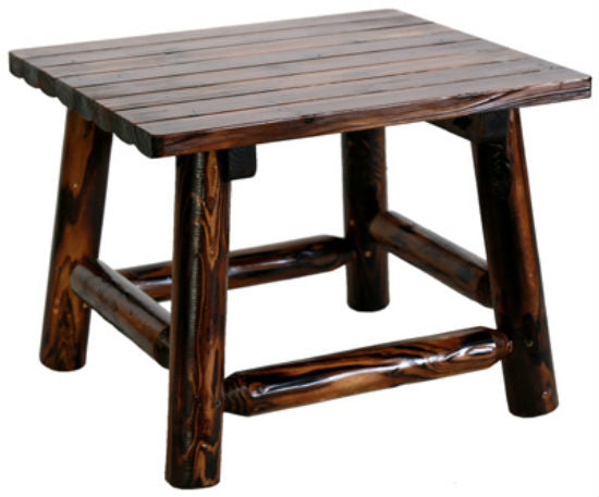 Char-Log™ TX93702 Solid Wooden End Table, Rustic Look