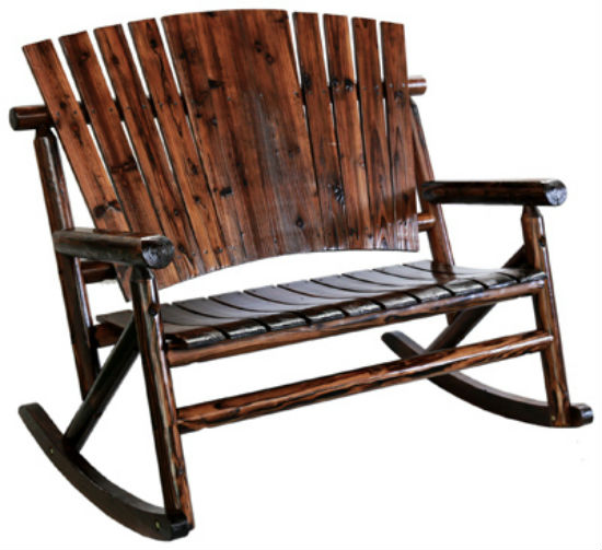 Char-Log™ TX93866 Solid Wooden Double Rocker, Rustic Look