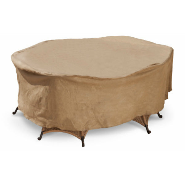 Budge P5A01SF1-N Round Table Chair Combo Cover w/ 3-Layer Protection, Tan, Large